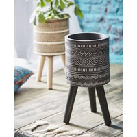 Planter With Wooden Legs.