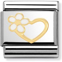 Nomination 18ct Gold & White Daisy Heart Classic Charm