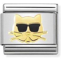 Nomination Classic 18ct Gold Cat With Glasses Charm
