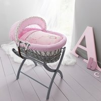 Izziwotnot Grey Wicker Moses Basket-Fairy Princess