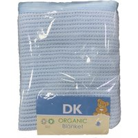DK Glove Organic Fitted Cotton Blanket for Cotbed 130x160cm-Blue - Blanket Gifts