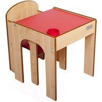 Little Helper FunStation Toddler Table and Chair Set-Maple/Red - Toddler Gifts