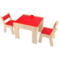 Little Helper New FunStation Duo Toddler Table and 2 Chair Set-Maple/Red - Toddler Gifts