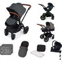 Ickle Bubba Stomp V3 Black Frame I-SIZE Travel System With Mercury Carseat and Isofix Base-Graphite Grey
