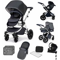 Ickle Bubba Stomp V4 I-SIZE Travel System With Mercury Carseat & Isofix Base-Blueberry Chrome - Chrome Gifts
