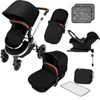 Ickle Bubba Stomp V4 Chrome Frame Travel System With Galaxy Carseat & Isofix Base-Midnight Chrome - Chrome Gifts