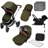 Ickle Bubba Stomp V4 Chrome Frame Travel System With Galaxy Carseat & Isofix Base-Woodland Chrome - Chrome Gifts