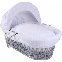 Clair De Lune Marshmallow Grey Wicker Moses Basket-White