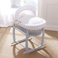 Clair De Lune Marshmallow Grey Wicker Moses Basket-White