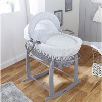 Clair De Lune Stars and Stripes Wicker Moses Basket-Grey