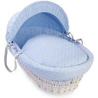 Clair De Lune Dimple White Wicker Moses Basket-Blue
