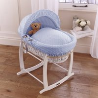 Clair De Lune Dimple White Wicker Moses Basket-Blue