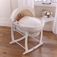 Clair De Lune Dimple White Wicker Moses Basket-Cream