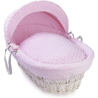 Clair De Lune Dimple White Wicker Moses Basket-Pink