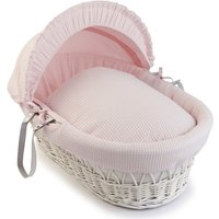 Clair De Lune Waffle White Wicker Moses Basket-Pink