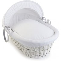 Clair De Lune Waffle White Wicker Moses Basket-White