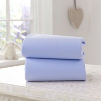 'Clair De Lune 2 Pack Fitted Cotton Moses Basket Sheets-blue
