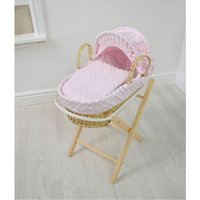 Kiddies Kingdom Dolls Moses Basket-Dimple Pink With Folding Stand! - Dolls Gifts