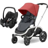 Quinny Hubb Silver Frame XXL 2in1 Pebble Pro Travel System-Red/Graphite