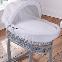 Clair De Lune Dimple Grey Wicker Moses Basket-White