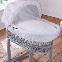 Clair De Lune Waffle Grey Wicker Moses Basket-White