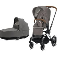 Cybex Priam Chrome Pushchair with Lux Carry Cot-Soho Grey/Brown (2020)