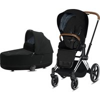 Cybex Priam Chrome Pushchair with Lux Carry Cot-Deep Black/Brown (2020)