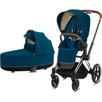 Cybex Priam Chrome Pushchair with Lux Carry Cot-Mountain Blue/Brown (2020)