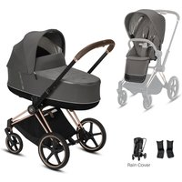 Cybex Priam Rose Gold Pushchair with Lux Carry Cot-Soho Grey/Brown (2020)