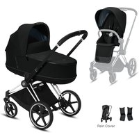 Cybex Priam Chrome Pushchair with Lux Carry Cot-Deep Black/Black (2020)