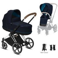 Cybex Priam Chrome Pushchair with Lux Carry Cot-Nautical Blue/Brown (2020)
