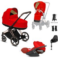 Cybex e-Priam Rose Gold Pushchair with Lux Carry Cot & Cloud Z Car Seat-Autumn Gold (NEW)