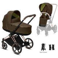 Cybex e-Priam Rose Gold Pushchair with Lux Carry Cot-Khaki Green/Brown (2020)