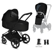 Cybex Priam Black Pushchair with Lux Carry Cot-Deep Black (2020)