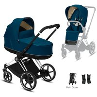 Cybex e-Priam Chrome Pushchair with Lux Carry Cot-Mountain Blue/Black (2020)