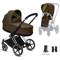 Cybex e-Priam Chrome Pushchair with Lux Carry Cot-Khaki Green/Black (2020)