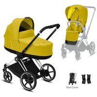 Cybex e-Priam Chrome Pushchair with Lux Carry Cot-Mustard Yellow/Black (2020)