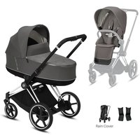 Cybex e-Priam Chrome Pushchair with Lux Carry Cot-Soho Grey/Black (2020)