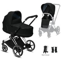 Cybex e-Priam Chrome Pushchair with Lux Carry Cot-Deep Black/Black (2020)