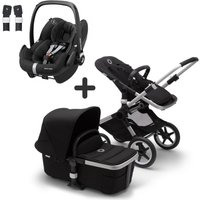 Bugaboo Fox2 and Maxi Cosi Pebble Pro Travel System Bundle-Aluminium/Black