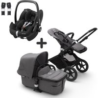 Bugaboo Fox2 and Maxi Cosi Pebble Pro Travel System Bundle-Black/Grey Melange
