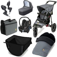 Out n About Nipper Single 360 V4 Ultimate Newborn 6 Piece Travel Bundle-Steel Grey
