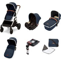 Ickle Bubba Eclipse Chrome Frame Travel System With Galaxy Carseat and Isofix Base-Midnight Blue/Tan