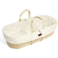 The Little Green Sheep Natural Quilted Moses Basket and Mattress-Linen Rice