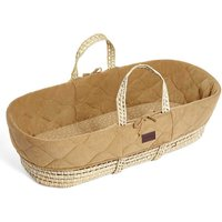 The Little Green Sheep Natural Quilted Moses Basket and Mattress-Honey