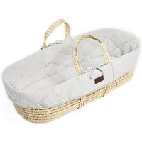 The Little Green Sheep Natural Quilted Moses Basket and Mattress-Dove
