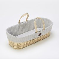 The Little Green Sheep Organic Knitted Moses Basket and Mattress-Dove