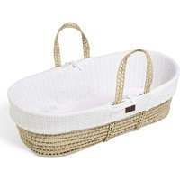 The Little Green Sheep Organic Knitted Moses Basket and Mattress-White