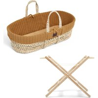 The Little Green Sheep Natural Knitted Moses Basket and Stand Bundle-Honey