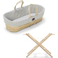 The Little Green Sheep Natural Knitted Moses Basket and Stand Bundle-Dove